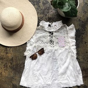 Free People Ivory Crotchet Tie Back Top
